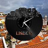Reloj de Pared de Vinilo de Lisboa, Paisaje Urbano, únicos, decoración del hogar, Arte (tamaño: 12 Pulgadas, Color: Negro)
