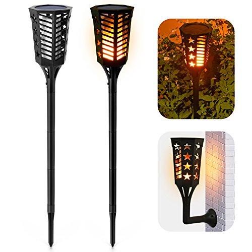 Ankway Luces solares tipo antorcha con llamas parpadeantes, impermeabilidad IP65, tira de...