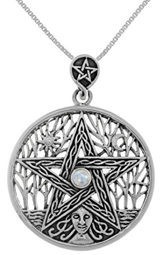 Jewelry Trends Sterling Silver Celtic Goddess Pentacle Pendant with Moonstone on 18 Inch Chain Necklace