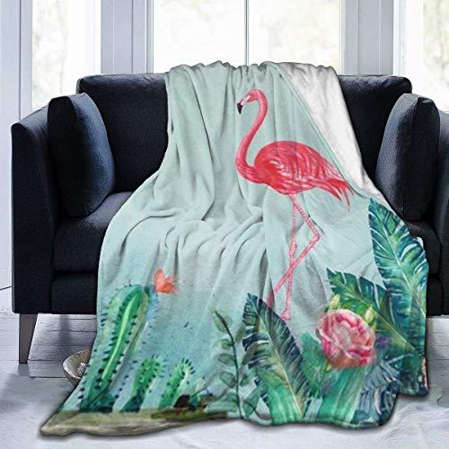 Manta de terciopelo de felpa Flamingo y hojas tropicales Alfombra de vellón térmico Colcha de coche para mujer Cojín para dormir acogedor Funda de franela para invierno 127 x 102 cm / 50 x 40 pulgadas 🔥