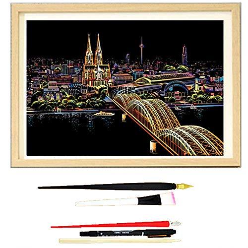Scratch Art, Stadt Nachtsicht Scratch Art Color Malerei Papier Handgefertigt Ist Ein Sehr Gutes Geschenk,nophotoframes