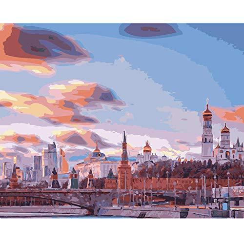 SDHJMT Anfänger Malen nach Zahlen Kit Digitale Bildwanddekoration der unterschiedlichen Himmelzusammenfassungs-Ölfarbe Leinwand DIY ölgemälde 16x20inch