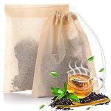 400 Pezzi Sacchetti Filtro di Tè Usa e Getta Infusore con Cordino Sicuro Incassato Buste Naturali di Carta Forte Penetrazione Carta per Tè Foglia Sciolta e Caffè, 2,36 x 3,15 Pollici