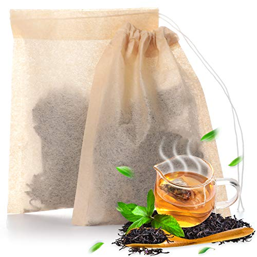400 Pieces Tea Filter Bags Disposable Tea Infuser with Drawstring Safe Unbleached Natural Strong Penetration Paper Bags for Loose Leaf Tea and Coffee, 2.36 x 3.15 Inches