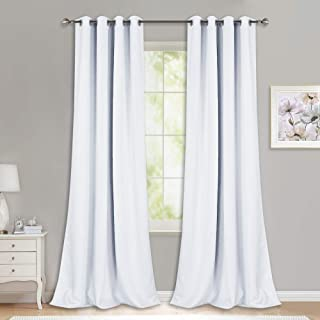 NICETOWN Long White Curtains for Patio - (52 inches Wide x 120 inches Long, White, 2 Panels) Home Decoration Grommet Top Drapes, White Bedroom Panels