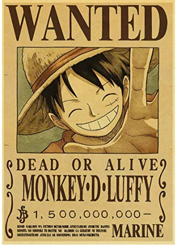 SHENGZI Canvas Poster Cartoon Home Decor Wall Sticker Wanted One Piece Japanese Anime Luffy Nursery Kids Room Retro Posters Painting 50 * 70Cm Frame