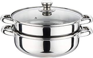 Vaporera, 28 cm, 2 niveles, acero inoxidable, olla de cocción para alimentos saludable, para el hogar o la cocina