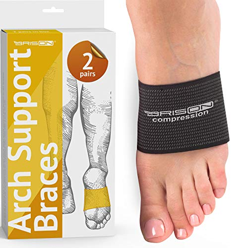Compression Arch Support Braces for Men Women - Elastic Reusable Plantar Fasciitis Ankle Arch Sleeves Socks for Flat Foot Heel Spurs High/Low/Fallen Arches Heel Pain Relief - 2 Pairs