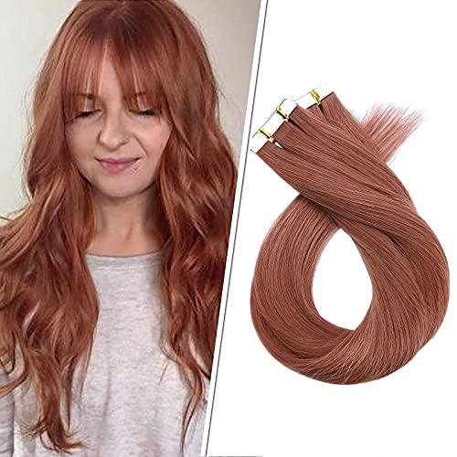 Silk-co 40cm Extension Biadesivo Capelli Veri 20 Fasce 50g Remy Hair Tape in Extension Capelli Umani Extension Adesive - 33 Castano Ramato Scuro