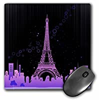 3drose LLC 8x 8x 0.25インチマウスパッド、The Eiffel Tower inピンクwith a city skyline and Bubbles ( MP _ 158705_ 1)