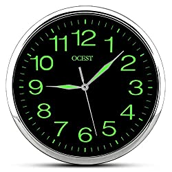 OCEST Wall Clock, 12 Inch Silent Non-Ticking Quartz Wall Clock with Night Light Large Display Battery Operated for Indoor Kitchen Office Bathroom Living Room Garage (Silver)