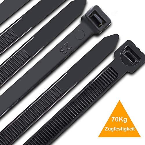 Kabelbinder 300 mm x 7,6 mm, UV-Beständig ultra starke Kabelbinder mit 70 kg Zugfestigkeit, Schwarz 100 Stück