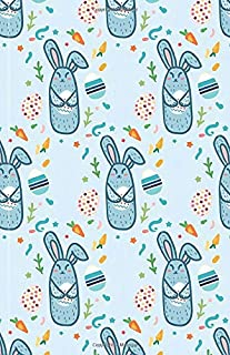 A5 Lined Notebook 110 Pages: Funny Ruled Journal Cute Rabbit Bunny Own Pet Lover Happy Easter Eggs 084. Cute Unique Student Teacher Blank Scrapbook/ ... Planner Great For Home School Office Writing