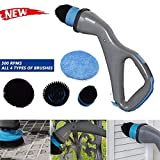 GRAWILLE 2019 New All-in-One Muscle Scrubber Electric Cleaning Brush Cordless Rechargeable Spin Scrubber - 4 Brush Head -500 RPM Power Bathroom Tub Shower Kitchen Floor Tile Scrubber Cleaner