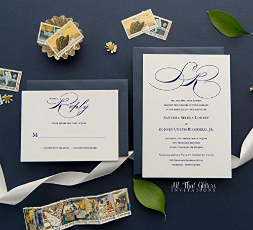 Cheap Elegant Wedding Invitations with Monogram, Personalized Invitations with Envelopes, RSVP Card Included