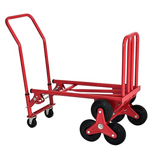 Chariot de Transport Diable Platforme Pliable avec Roues en Caoutchouc, Support jusqu'à 150KG, Taille:33 * 38 * 120cm, Poids: 15kg, Rouge