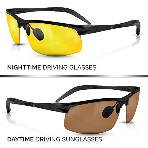 BLUPOND KNIGHT VISOR Set of 2 - Driving Glasses Anti-Glare HD Vision - Yellow Lens Night Driving Glasses Plus Copper Daytime Driving Sunglasses for Hunting, Fishing, Cycling, PLUS CAR CLIP HOLDER