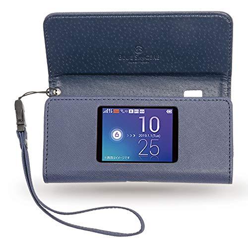 [ BLUE SINCERE ] W06 Speed Wi-Fi NEXT モバイルルーター ケース カバー PU レザー 保護 フィルム 付き 撥水 ROC1 (ダークネイビー)