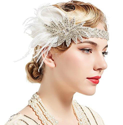 ArtiDeco 1920s Feder Stirnband 20er Jahre Stil Art Deco Flapper Haarband Great Gatsby Stirnband...