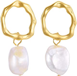 SENGUFENG Baroque Freshwater Pearl Gold Plated Simple Drop Dangle Stud Earrings Jewelry for Women Girl