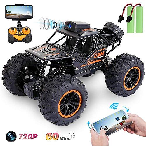 le-idea 1:18 RC Auto mit 720P FPV WiFi Kamera, 4WD 2,4 Ghz Ferngesteuertes Offroad Auto Spielzeug, Rock Crawler Fahrzeug, Geländewagen Geschenk für Kinder Jugendlichen Erwachsene, 2x30 Minuten Akkus
