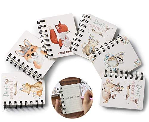 Portatile Mini Taccuino Notebook, Comius Sharp 6 Pezzi Taccuino a fogli mobili bloc-notes, con Cute Cartoon Pattern Piccolo Taccuino Tascabile,Giornale per taccuino per forniture per ufficio (A)