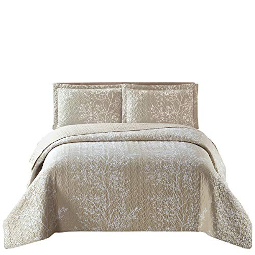 Odette Beige Reversible Coverlets, Full/Queen Over-Sized 3pc Quilt Set (92-Inch Wide x 96-Inch Long) Lightweight Bedspread