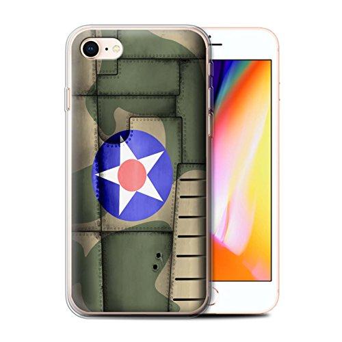Telefoonhoesje voor Apple iPhone SE 2020 Vliegtuig Vleugel Amerika/Groen Ontwerp Transparant Heldere Ultra Zachte Flexi Siliconen Gel/TPU Bumper Cover