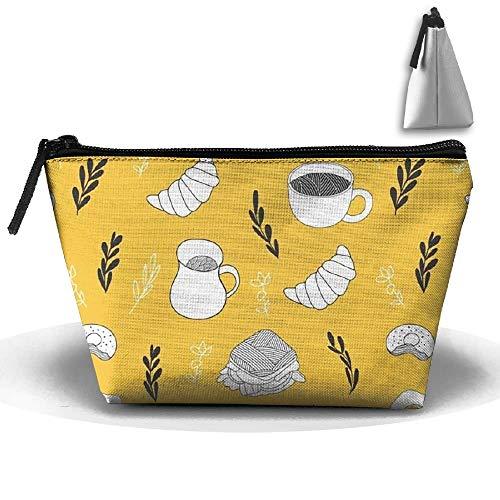 Trapez Tragbare Reise Kulturbeutel Kaffee Brot Wiederholen Kosmetiktaschen Multifunktionshandtasche