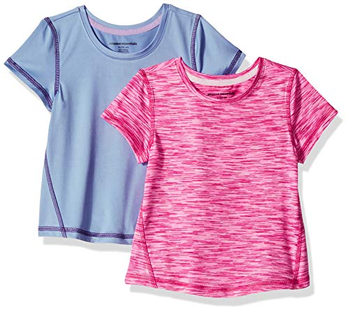 Amazon Essentials Mädchen-Kurzarmshirt Active, 2er-Pack, Mehrfarbig (Purple/Pink Spacedye), US 4T (EU 104–110)