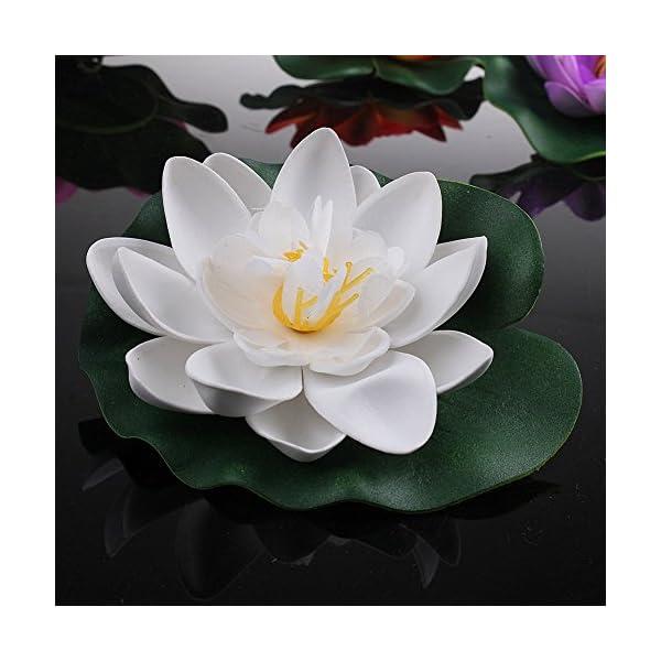Lansue – Juego de 4 lirios artificiales de espuma flotante para decoración de estanques de jardín, tamaño pequeño