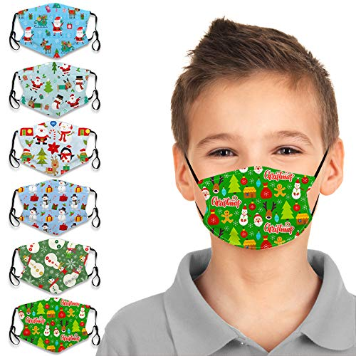 6Pcs Christmas Kids Face Bandanas for Protection Reusable Face Cotton Dustproof Windproof for Toddlers Children