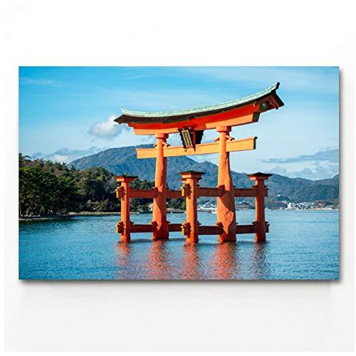 Japanse Religieuze Itsukushima Poort Landschap Muurkunst Posters en Prints Canvas Art Inlijsten Schilderijen voor Kamer Decor -60x90cm Geen Frame