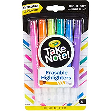 Crayola Take Note Erasable Highlighters, Cool School Supplies, Chisel Tip Markers, 6 Count