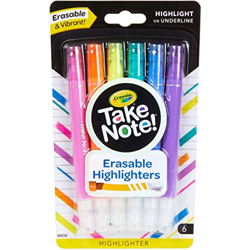 Crayola Take Note Erasable Highlighters Cool School Supplies Chisel Tip Markers 6 Count