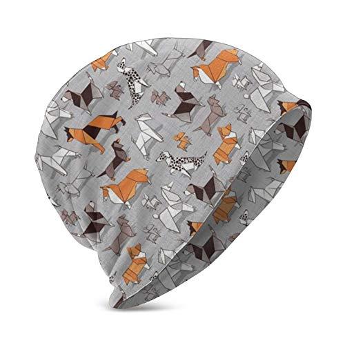 Pinakoli Origami Doggie Friends Grau Leinen Textur Hintergrund Papier Hunde Strickmütze Mützen Schädel Glatze Kappe für Männer Frauen