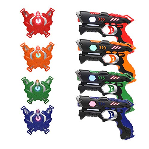 JOYMOR Infrared Laser Tag Guns Set of 4 Blasters and Vests,Multiplayer Mode,Best Toy for Boys Girls Indoor Outdoor Activity-0.9mW (Style B)