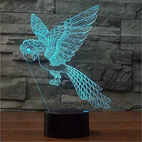 Lámpara 3D Rgb Parrot Bird Led Luz De Noche 3D Usb Tienda...
