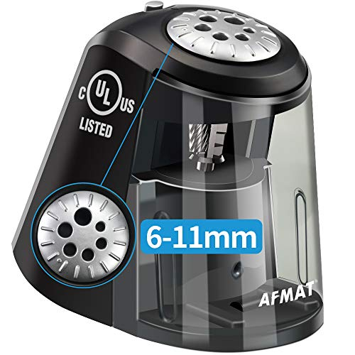 AFMAT Classroom Electric Pencil Sharpener Heavy Duty, 6 Holes, Large Adjustable Pencil Sharpener for Artists, Super Quiet Electric Sharpener with Helical Blade, Auto Stop for 6-11mm Jumbo Pencils