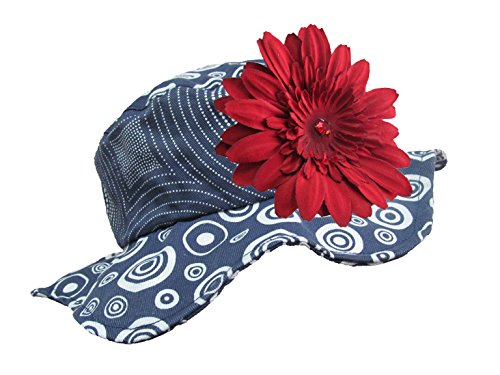 Jamie Rae Hats - Navy Blue Sun Hat with Red Daisy, Size: 4-6Y