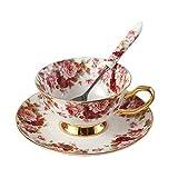 Juego de té Touch Life de porcelana con decoración de flores, en color blanco y rojo, Porcelana de ceniza de hueso, Multicolor,1 Set, Set of 1 with gift box