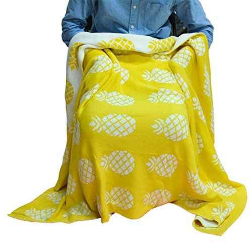 Brandream Pineapple Blankets Cozy Cotton Knitted Throw Blanket Summer Throws for Couch/Bed Decorative Blankets Beach Travel Throws Pineapple Gifts 53'' X 61''