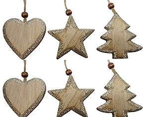 Christbaumschmuck Holz Gold Vintage Set Stern, Weihnachtsbaum, Herz