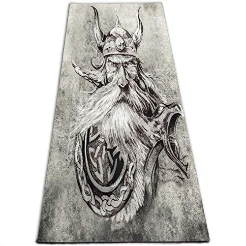 LOSUMIGE Esterilla Yoga Boceto del arte del tatuaje de un guerrero vikingo antiguo mascarón de proa de madera en una lancha vikinga Colchonetas de ejercicio Pilates para entrenamiento en casa Gimnasio