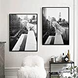 DASHBIG Personaje Marilyn Monroe Retrato Lienzo Pintura Blanco y Negro Póster de Arte Retro New York Hotel Balcón Mural Decoración del hogar   50x70cmx2 Sin Marco