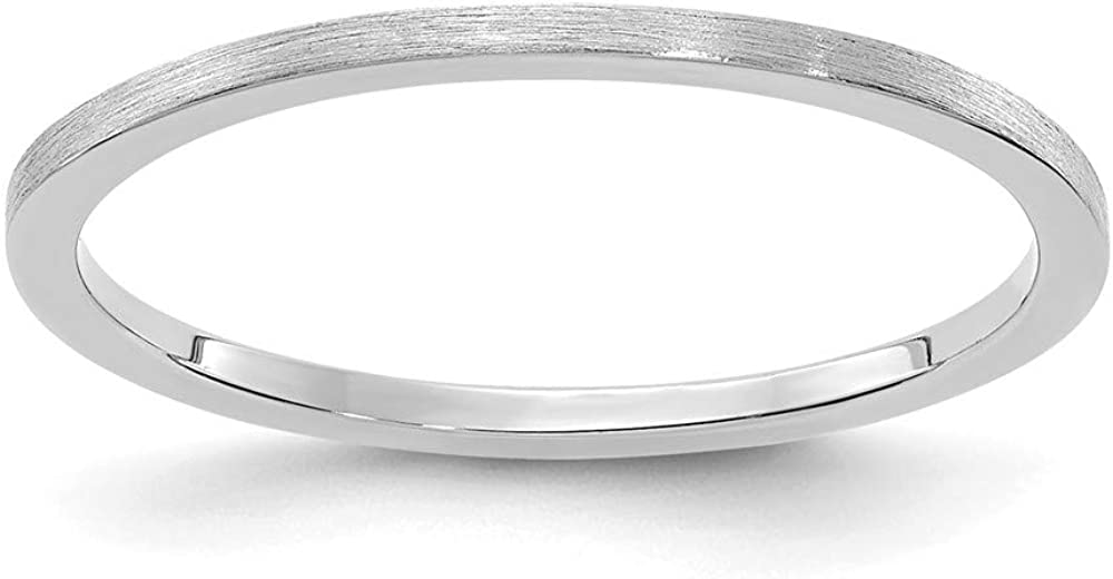 Solid 14K White Gold 1.2mm Flat Stackable Brushed Matte Finish Band Thin Wedding Anniversary Ring