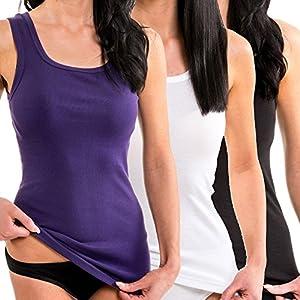 HERMKO 1325 Kit de Tres Camisas Interiores para Mujer, Hechas de algodón 100% Tank Top en Talla Grande, Größe Damen:48/50 (XL), Farbe:Schwarz/weiß/Lila