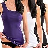 HERMKO 1325 3er Pack Damen Longshirt ideal für drüber und drunter (Weitere Farben), Farbe:schwarz, Größe:40/42 (M)