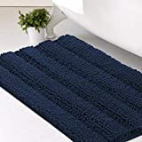 Bath Mats for Bathroom Non Slip Extra Thick Chenille Striped Bath Rug 20' x 32' Absorbent Non Skid Fluffy Soft Shaggy Rugs Washable Dry Fast Plush Mats for Indoor, Bath Room, Tub - Navy