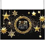 SAVITA 1.8x1.2m 2021 Fondo de Fotografía de Año Nuevo, Fondo de Cabina de Fotos de Vinilo de Estrella de Brillo Dorado Negro para Decoración de Fiesta de Celebración de Año Nuevo